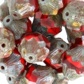 Perles en verre Saturn Beads 11x10 mm Red Coral/Light SiamTravertin x10