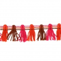 Galon pompons multicolore 20 mm Marron / Fuchsia / Orange x1m