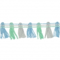 Galon pompons multicolore 20 mm Mint / Baby Blue / Gris x1m