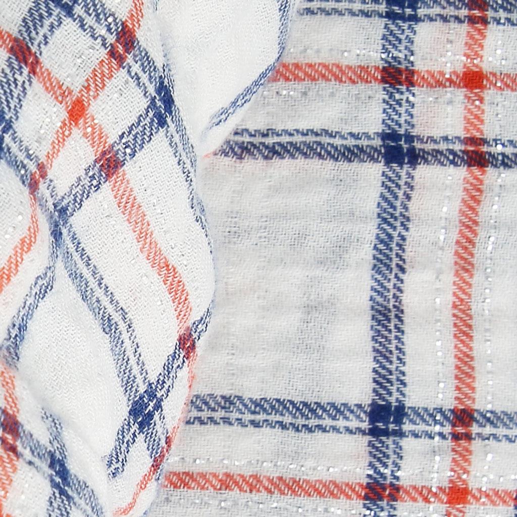 Tissu carreaux lexielu en coton coral bleu marine for Tissu a carreaux