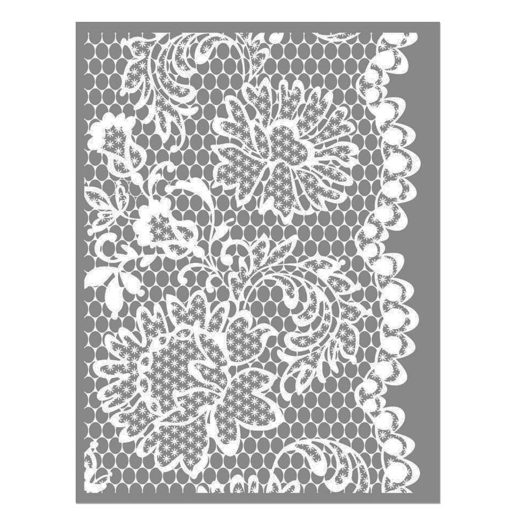 Comment Peindre De La Dentelle silk screen graine créative pour pâte polymère 114x153mm - motif dentelle