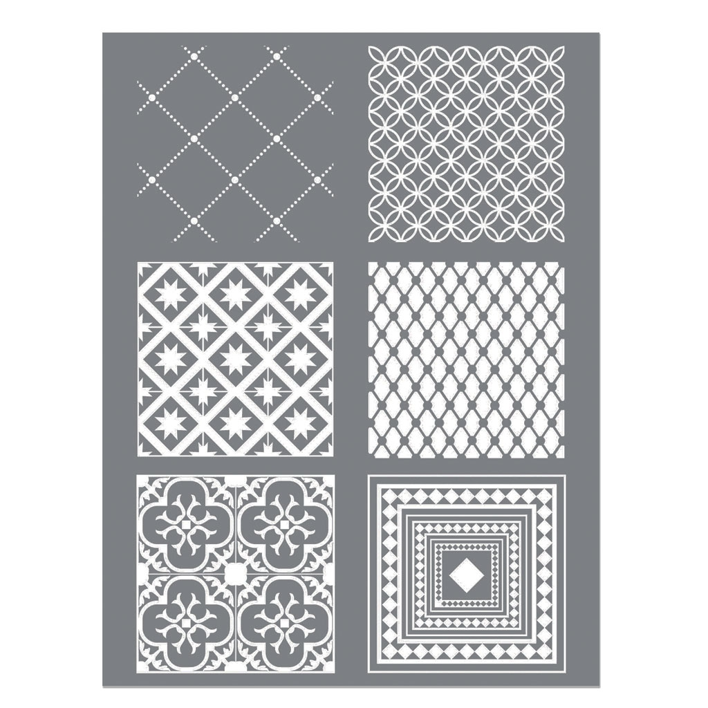 silk screen graine cr ative pour p te polym re 114x153mm motif carreaux de ciment perles co. Black Bedroom Furniture Sets. Home Design Ideas
