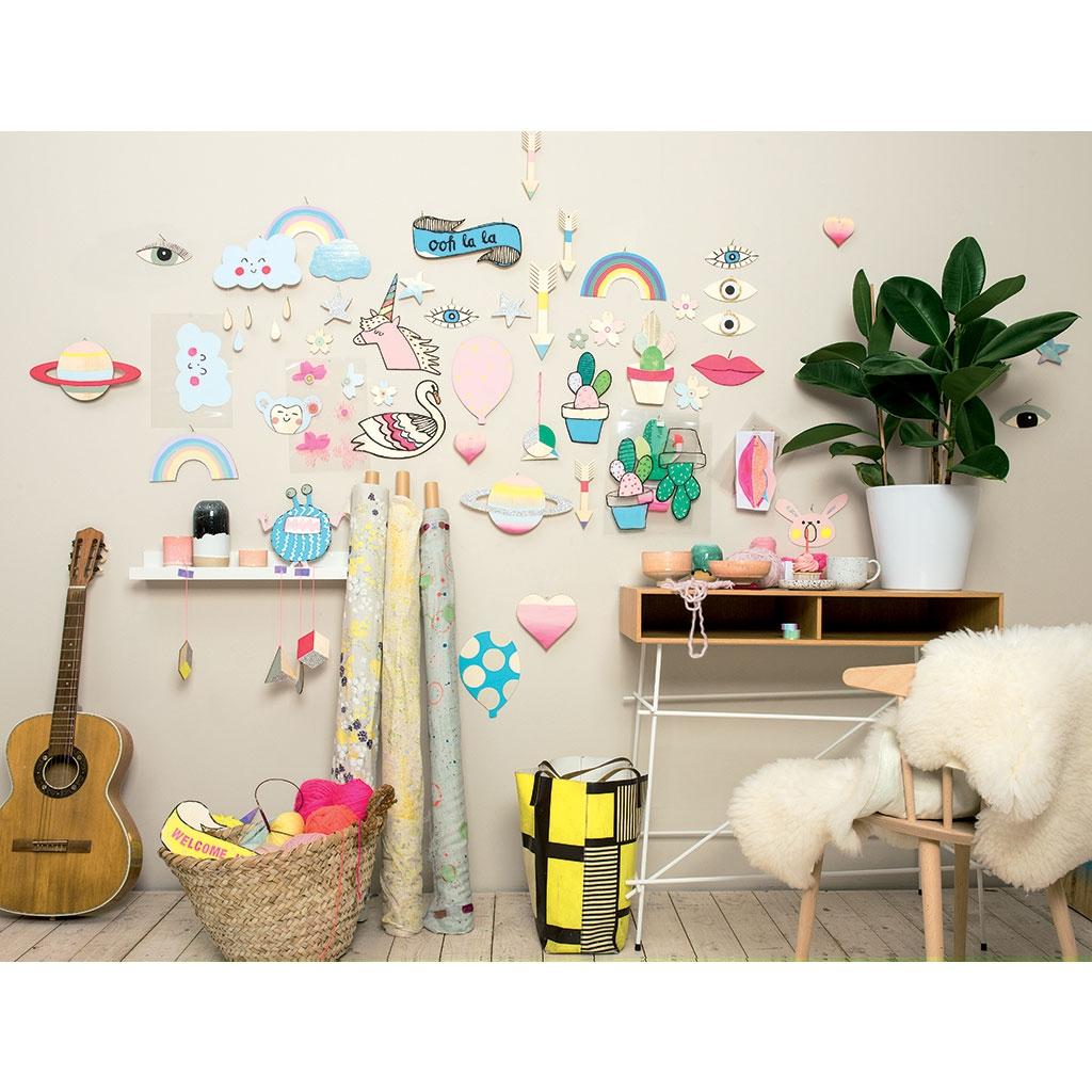 wall charm - mademe - support à décorer en bois 23 x 16 cm