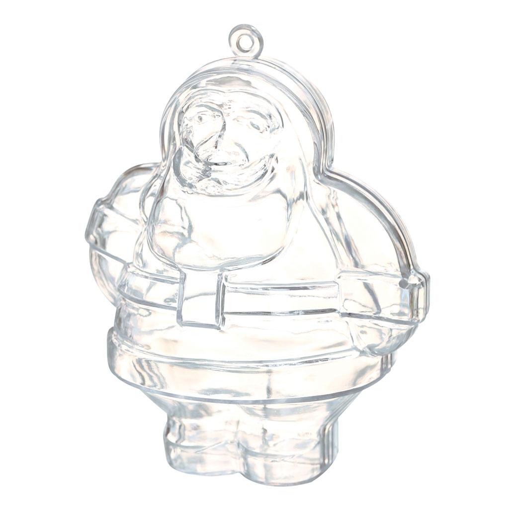 Boule Plastique A Decorer boule de noël transparente à garnir 100 mm - père noël x1