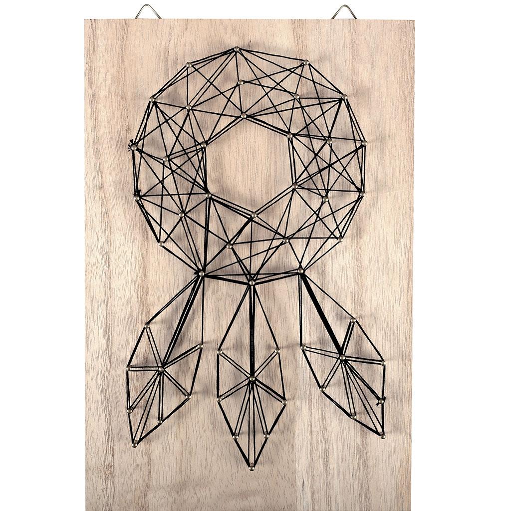 Kit string art mod le attrape r ve forme rectangle en bois brut 20 perles co - Cadre attrape reve ...
