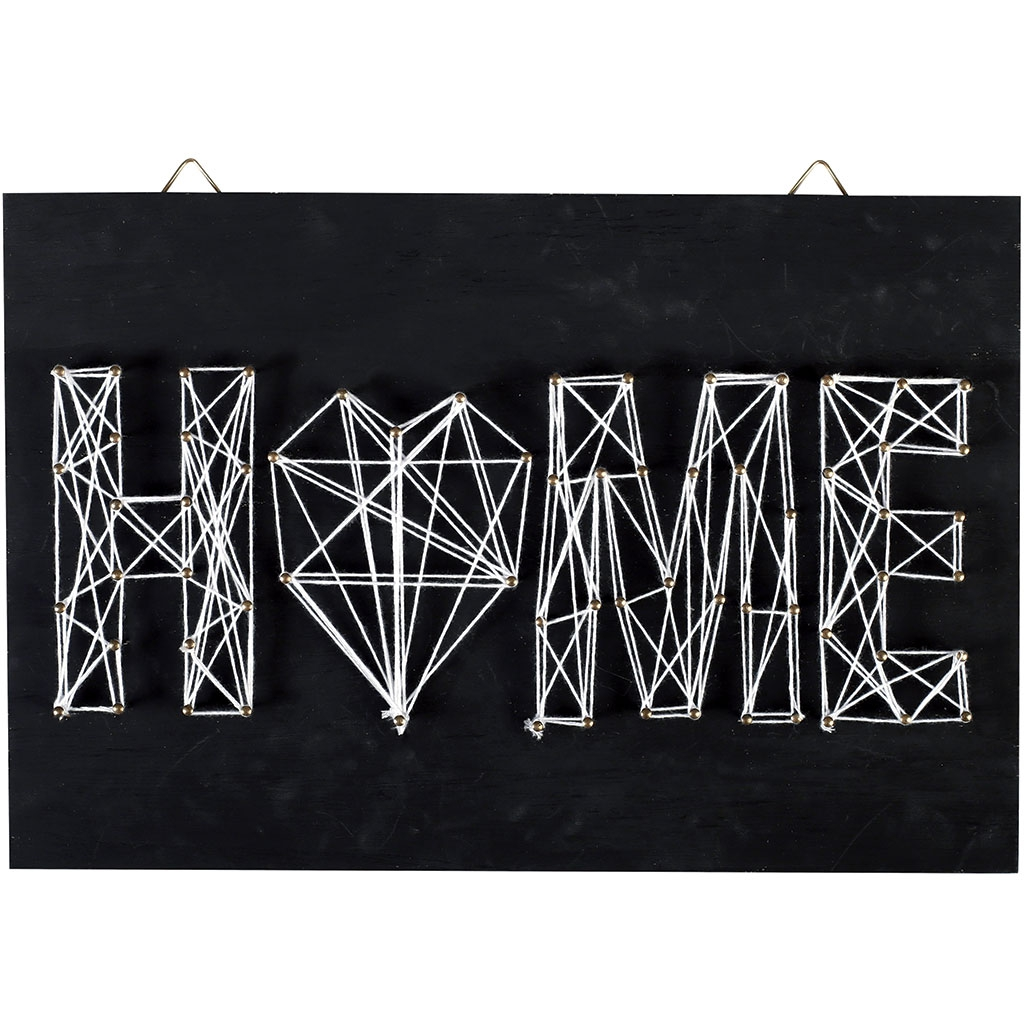 Kit string art mod le home forme rectangle en bois noir 30 x 20 cm perles co - String art modele ...