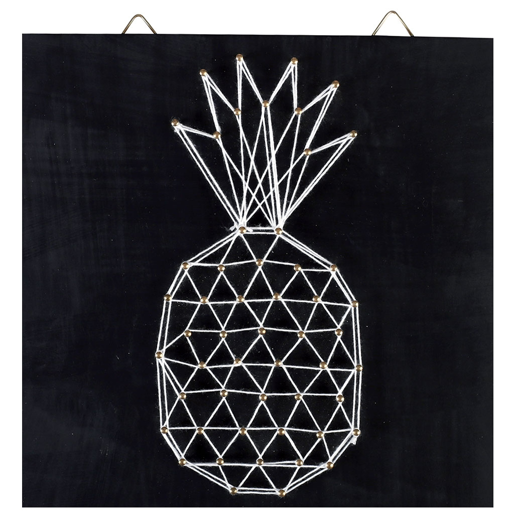 Kit string art mod le ananas forme rectangle en bois noir 22 x 22 perles co - String art modele ...