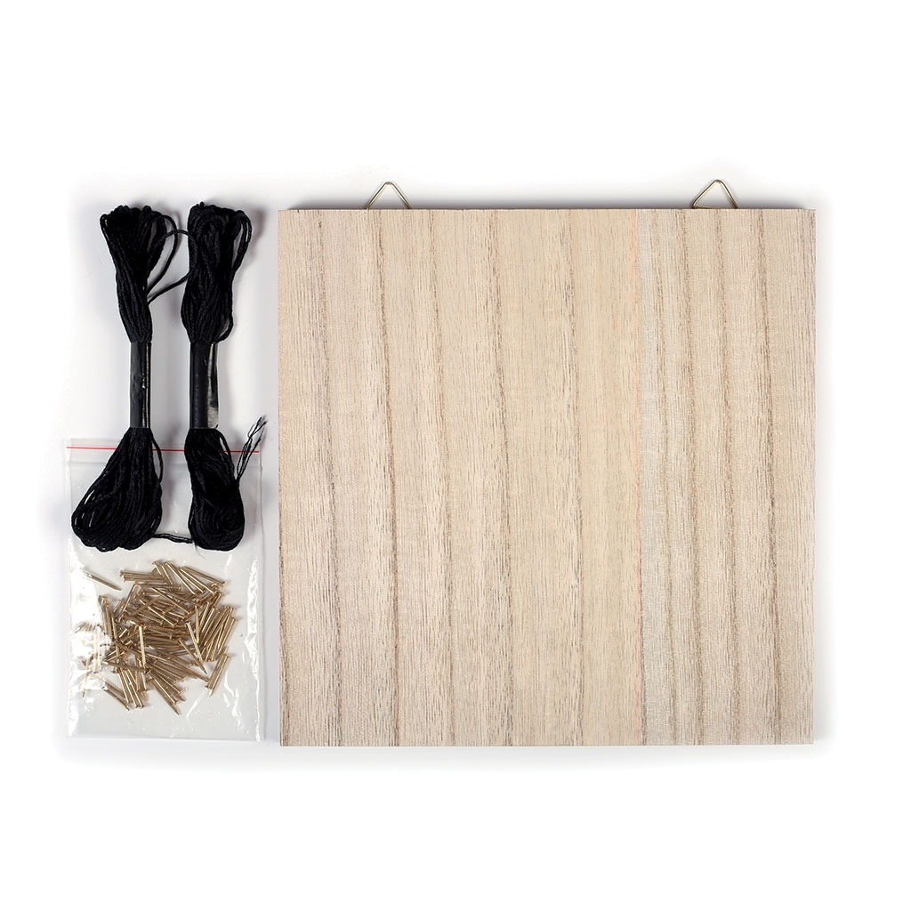 Kit string art mod le neutre faire soi m me en bois brut 22 x 22 perles co - String art modele ...