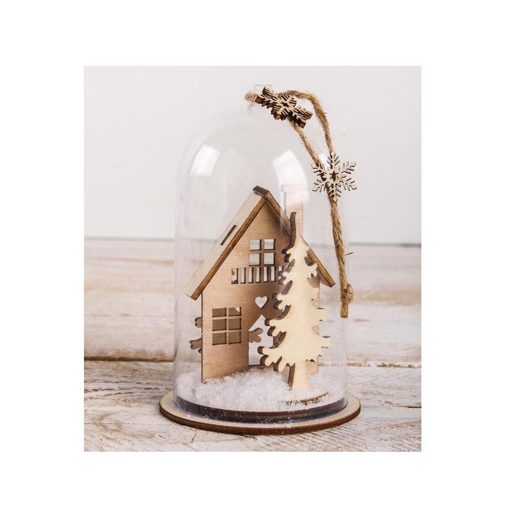 cloche de no l en plastique avec socle garnir 6x9 cm transparent perles co. Black Bedroom Furniture Sets. Home Design Ideas