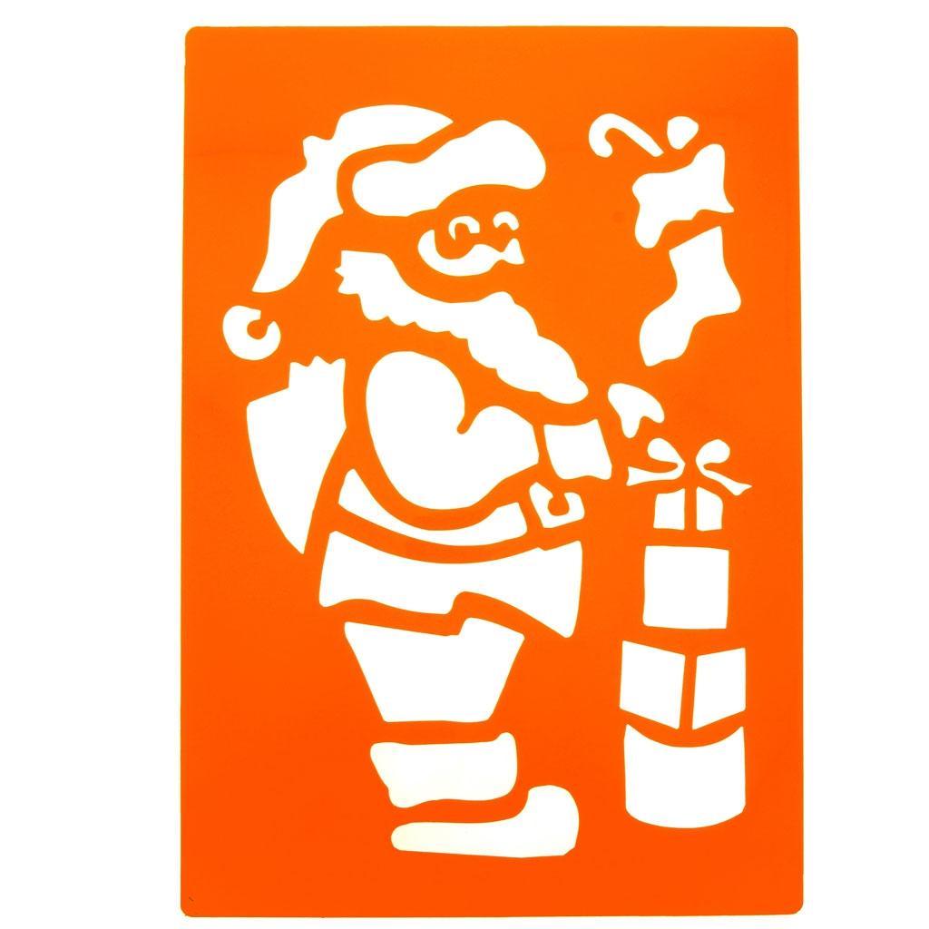 Pochoir Pere Noel.Pochoirs Géants En Plastique Pour Enfants 23x33 Cm Père Noël Et Sapin X2