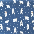 Coton enduit Daily Like - Friendly Bear - Ours polaire Bleu x10cm