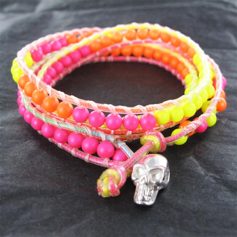 Bracelet Wrap Fluo Nacrées Swarovski et Tête de mort