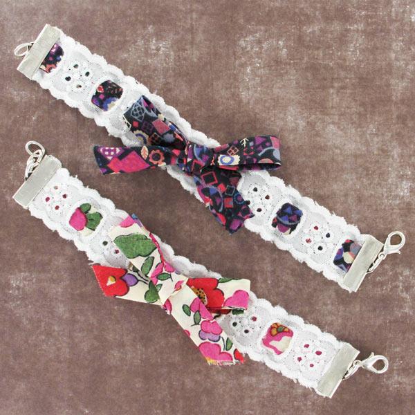 Bracelets dentelle et biais en tissu liberty perles co - Tissu pour bracelet liberty ...