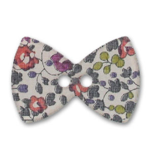 Bouton noeud papillon 38 mm Liberty Eloïse Prune x1