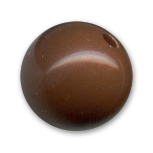 Perle ronde unie 14 mm Opaque Chocolate x1