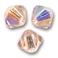 Toupies en cristal Swarovski 4 mm Light Peach AB x50
