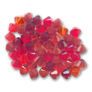 Mix de Toupies en cristal Swarovski 4 mm Rouge x50